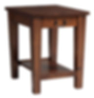 Urban Shaker End Table with drawer | Shaker style with tapered tegs and square edges, bottom shelf, black hardware. | Brown Maple in Michaels OCS113 | 24in W x 20in D x 24in H | The Amish Home | Amish Furniture at the Pittsburgh Mills