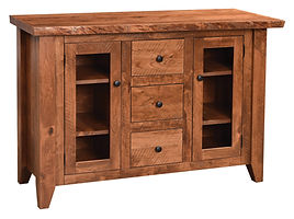 Abbington Live Edge Server with two doors and three drawers | Rustic Cherry in Michaels OCS113 | 52in W x 18in D x 36in H | The Amish Home | Amish Furniture at the Pittsburgh Mills