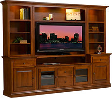 Clark Entertainment Center|Brown Maple in Asbury OCS117|96in W x 18 1/4in D x 83in H|The Amish Home|Amish Furniture at the Pittsburgh Mills