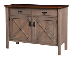 X-Base Sideboard | Standard features include soft-close doors and soft-close drawers. Optional wine rack available. | Brown Maple in Two-toned | 44in W x 20in D x 40in H | The Amish Home | Amish Furniture at the Pittsburgh Mills
