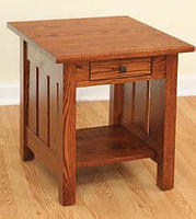 Canted Mission End Table | Oak in Michaels OCS113 | 22in W x 24in D x 24in H | The Amish Home | Amish Furniture at the Pittsburgh Mills
