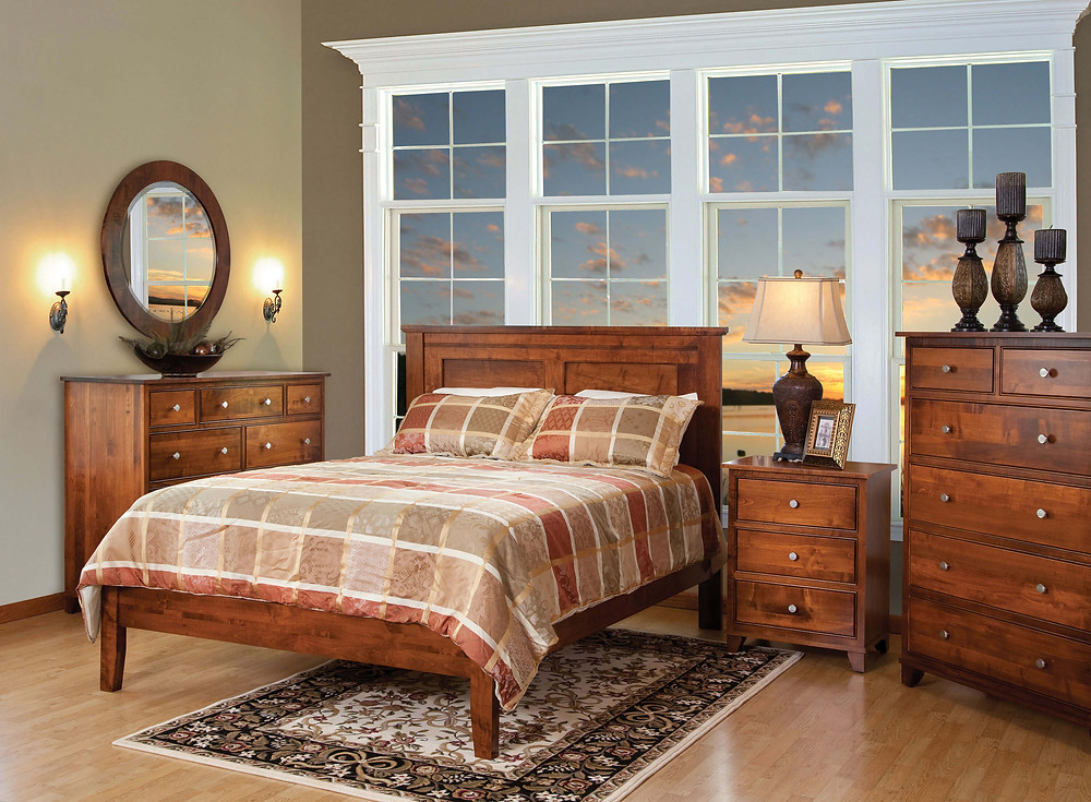 Hyland Park Bedroom Furniture Collection|Hyland Park Panel Bed, Mule dresser and Round Mirror, 3 Drawer Nightstand, Bureau|Solid Brown Maple in Michaels OCS113|The Amish Home|Amish Furniture at the Pittsburgh Mills