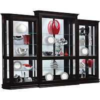 Deluxe Sliding Door Curio 3-pc Set | 4 adjustable shelves with plate groove, mirror back, clear glass, LED touch light, center door slides left | Brown Maple in Onyx OCS230 | 126 1/2in W x 17in D x 85in H | The Amish Home | Amish Furniture at the Pittsburgh Mills