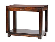 Urban Sofa Table with drawer | Contemporary clean style with square legs, block feet, and satin nickel bar hardware. | Brown Maple in Rich Tobacco OCS228 | 36in W x 18in D x 30in H | The Amish Home | Amish Furniture at the Pittsburgh Mills