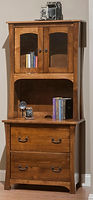 Woodbury Lateral File Cabinet with hutch with open deck and glass doors | Brown Maple in Asbury OCS117 | 32in W x 21in D x 73 1/4in H | The Amish Home | Amish Furniture at the Pittsburgh Mills