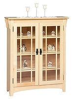 Small Mission Double Door Bookcase|Brown Maple in Natural OCS100|39 1/4in W x 14in D x 48in H|The Amish Home|Amish Furniture at the Pittsburgh Mills