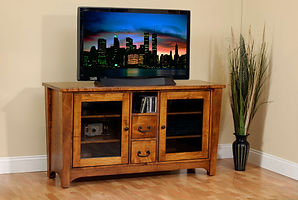 Urban Shaker TV Stand | Shaker style with tapered tegs and square edges, bottom shelf. | Brown Maple in Michaels OCS113 | 57in W x 18in D x 30in H | The Amish Home | Amish Furniture at the Pittsburgh Mills