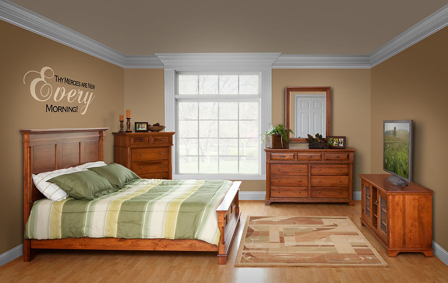Lindenhurst Bedroom Furniture Collection|Lindenhurst Panel Bed, 66in Dresser with Mirror, 3 Drawer Nightstand, Bureau, TV Cabinet|Solid Rustic Cherry in Seely OCS104|The Amish Home|Amish Furniture at the Pittsburgh Mills