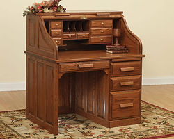 Traditional Roll Top Desk|Oak in Michaels OCS113|42in W x 30in D x 47 1/2in H|The Amish Home|Amish Furniture at the Pittsburgh Mills