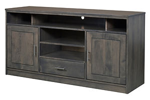 Nelson's Economy Urban TV Stand with two doors and one drawer | Brown Maple in Smoke OCS121 | 60in W x 18in D x 30in H | The Amish Home | Amish Furniture at the Pittsburgh Mills