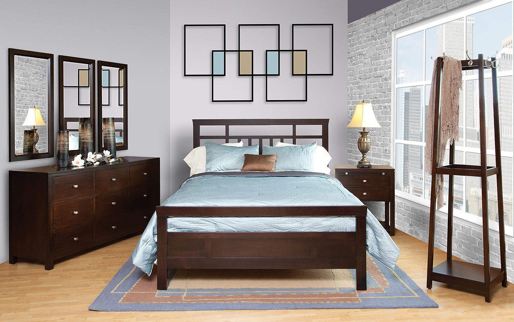 Park Avenue Bedroom Furniture Collection|Hyland Court Bed, 66in Dresser with Mirrors, 2 Drawer Nightstand, Garment Tower|Solid Brown Maple in Rich Tobacco OCS228|The Amish Home|Amish Furniture at the Pittsburgh Mills