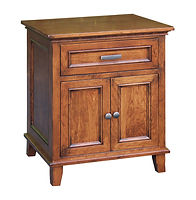 Brooklyn 1 Drawer 2 Door Nightstand|Quartersawn White Oak in Michaels OCS113|25in W x 20 1/4in D x 29 3/4in H|The Amish Home|Hardwood Furniture at the Pittsburgh Mills