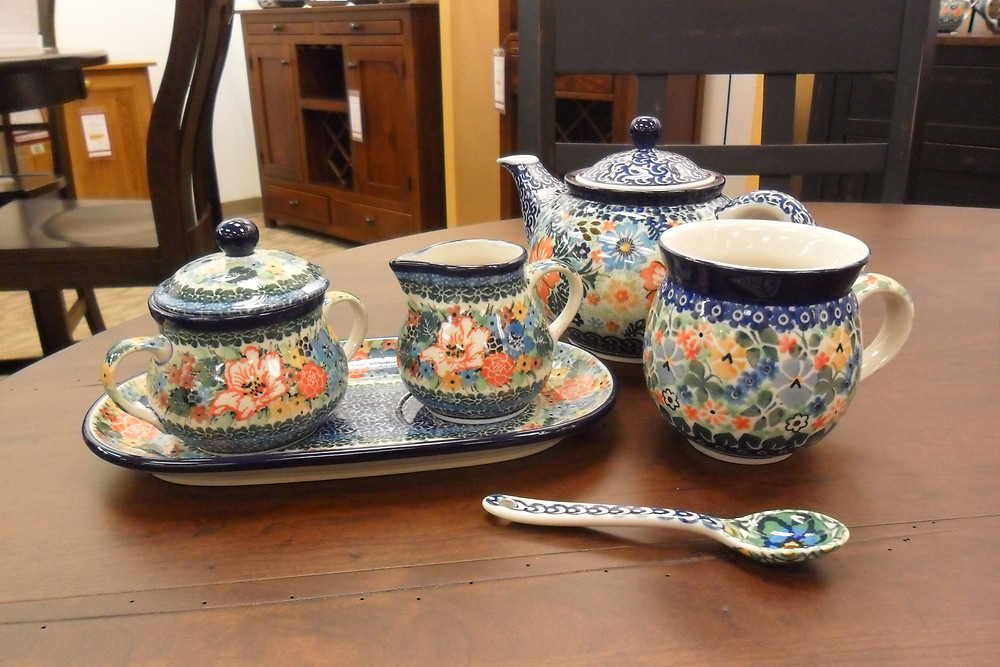 Unikat Polish Pottery Teapot Mug Cream and Sugar Set with Plate and Small Spoon, each with hand-painted floral design