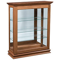 Petite Small Sliding Door Picture Frame Curio | 3 adjustable shelves with plate groove, mirror back, clear glass, LED touch light, door slides left | Brown Maple in Seely OCS104 | 39 1/2in W x 14 3/4in D x 48in H | The Amish Home | Amish Furniture at the Pittsburgh Mills