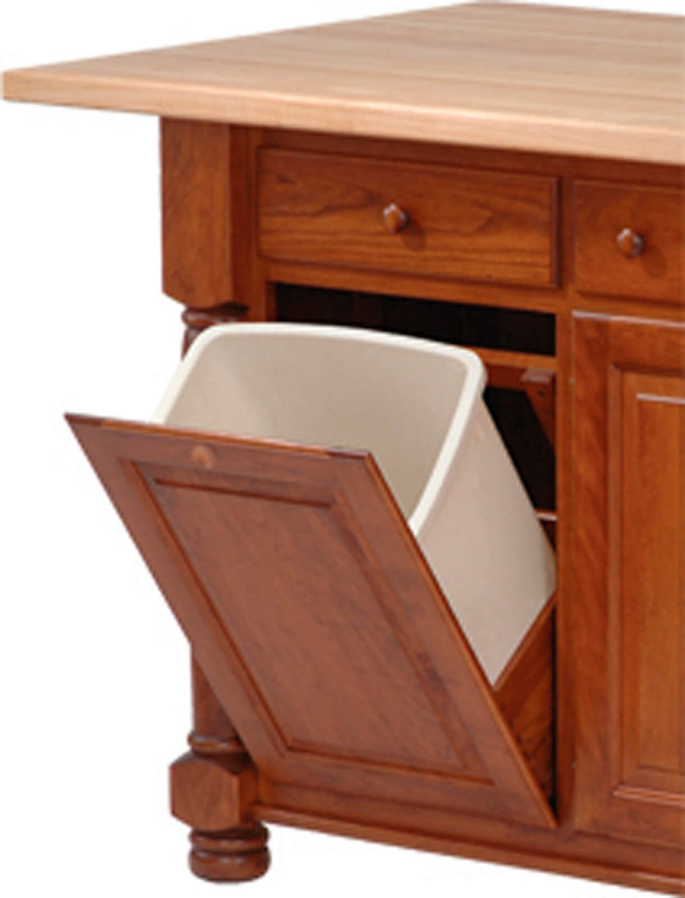 Add wastebasket slide-out or tilt-out to your kitchen island