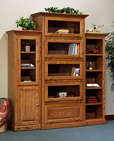Highland Barrister Bookcase | Barrister bookcases feature glass panel doors that lift up to open and tuck into the case.  | Oak in Fruitwood OCS102 | 84 3/4in W x 19in D x 85 3/4in H | The Amish Home | Amish Furniture at the Pittsburgh Mills