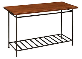 Bradford Industrial Style Sofa Table with metal base|Metal Base & Brown Maple in Michaels OCS113|48in W x 20in D x 29in H|The Amish Home|Amish Furniture at the Pittsburgh Mills