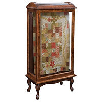 Large Quilt Case | 2 quilt bars, wood back, clear glass | Oak in Acres OCS106 | 27 1/2in W x 15in D x 56in H | The Amish Home | Amish Furniture at the Pittsburgh Mills