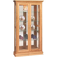 Double Door Picture Frame Curio | 4 adjustable shelves with plate groove, mirror back, clear glass, LED touch light, brass plate with lock | Oak in Fruitwood OCS102 | 40in W x 14in D x 72in H | The Amish Home | Amish Furniture at the Pittsburgh Mills