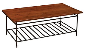 Bradford Industrial Style Coffee Table with metal base|Metal Base & Brown Maple in Michaels OCS113|54in W x 30in D x 19in H|The Amish Home|Amish Furniture at the Pittsburgh Mills