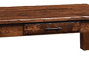 Hand Hewn Coffee Table|Rustic Cherry in Medium OCS110|48in W x 22in D x 18in H|The Amish Home|Amish Furniture at the Pittsburgh Mills