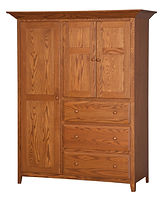 English Shaker Chifforobe|Oak in Seely OCS104|56in W x 24in D x 70in H|The Amish Home|Hardwood Furniture at the Pittsburgh Mills