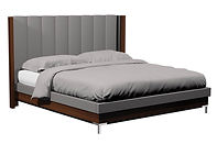 American Modern Vertical Panel Upholstered Bed with metal leg|Brown Maple in |in W x in D x in H|The Amish Home|Amish Furniture at the Pittsburgh Mills