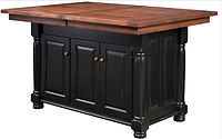 Turned Leg Kitchen Island | 3 Doors, 2 Drawers, 2 Adjustable Shelves. Shown with extension top with self-storing leaves. | Brown Maple in Black Paint | 49in W x 24in D x 34 1/2in H | The Amish Home | Amish Furniture at the Pittsburgh Mills