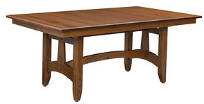 Raleigh Trestle Dining Table | Quartersawn White Oak in Michaels OCS113 | Many Sizes Available | The Amish Home | Amish Furniture at the Pittsburgh Mills