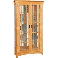 Mission Double Door Curio | 4 adjustable shelves with plate groove, mirror back, clear glass, LED touch light, black pull with lock | Oak in MX OCS103 | 39 1/2in W x 14in D x 72in H | The Amish Home | Amish Furniture at the Pittsburgh Mills