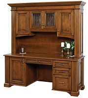 Lincoln Credenza Desk with Hutch|Brown Maple in Boston OCS111|75in W x 24in D x 79 1/2in H|The Amish Home|Amish Furniture at the Pittsburgh Mills