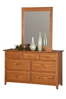 English Shaker 56in Dresser & Mirror|Oak in Seely OCS104|56in W x 20 1/4in D x 35in H|The Amish Home|Hardwood Furniture at the Pittsburgh Mills