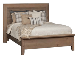 Glendale Panel Bed | Rustic Quartersawn White Oak in Barnwood SP-10 | Headboard 56in H, footboard 20in H | The Amish Home | Amish Furniture at the Pittsburgh Mills