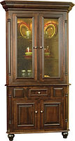 European Corner Hutch|Brown Maple in Coffee OCS226|45in W x 24in D x 85in H, 33in wall space|The Amish Home|Amish Furniture at the Pittsburgh Mills