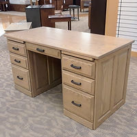 New On Display Express Double Pedestal Desk Pencil drawer, 4 box drawers, 2 file drawers, pull-out writing tablets, full-extension drawer glides, raised panel bak & sides. Solid Oak in Driftwood OCS135 56in W x 26in D x 30in H Solid Hardwood Furniture Made in the USA The Amish Home Furniture in Pittsburgh Mills