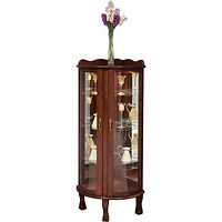 Corner Curio | 3 adjustable shelves with plate groove, mirror back, clear glass, LED touch light, brass pull with lock | Cherry in Traditional OCS114 | 26in W x 22in D x 59in H, 19in wall space | The Amish Home | Amish Furniture at the Pittsburgh Mills