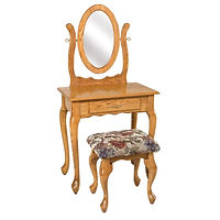 Queen Anne Dressing Table | Oak in Fruitwood OCS102 | 29 1/2in W x 17 1/2in D x 30 1/2in H | The Amish Home | Amish Furniture at the Pittsburgh Mills