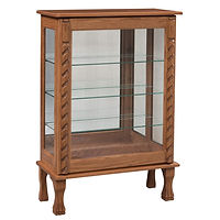 Sliding Door Beanie Bin Curio | 3 adjustable shelves with plate groove, mirror back, clear glass, LED touch light, door slides left | Oak in Medium OCS110 | 30in W x 13in D x 45in H | The Amish Home | Amish Furniture at the Pittsburgh Mills
