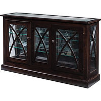 Lexa Console Curio | 2 adjustable shelves with plate groove, glass top, mirror back, clear glass, no light, no lock | Brown Maple in Onyx OCS230 | 50in W x 13in D x 30in H | The Amish Home | Amish Furniture at the Pittsburgh Mills
