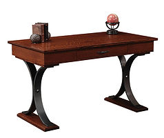 Dickens Writing Table with metal base   Quartersawn White Oak in Michaels OCS113   54in W x 28in D x 30 1/2in H   The Amish Home   Amish Furniture at the Pittsburgh Mills
