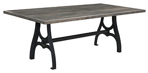 Bayfield Dining Table with metal base | Wormy Maple in Smoke OCS121 | Many Sizes Available | The Amish Home | Amish Furniture at the Pittsburgh Mills