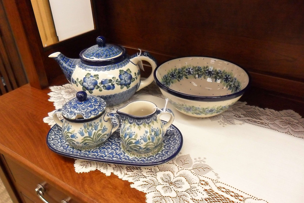 """Teapot 1.25qt - Blue Poppy Pattern - Cream & Sugar with Saucer - Bluebell Pattern - Bowl 7.75"""" - Blue Bell Wreath Pattern - Ceramika Artystyczna Bolesławiec Polish Pottery - The Amish Home - Galleria at Pittsburgh Mills Amish Furniture"""