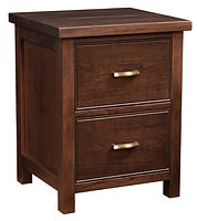 Timbermill Nightstand with 2 Drawers | Two inset drawers. 1 1/2inch solid top with softened front edge, beaded trim on drawers, flat inset panel sides, antique brushed satin brass hardware. | Rustic Cherry in Kona FC-3030 | 22in W x 20 1/4in D x 28 1/2in H | The Amish Home | Amish Furniture at the Pittsburgh Mills