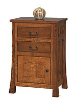 Bridgeport Mission 2 Drawer 1 Door Nightstand|Quartersawn White Oak in Michaels OCS113|21 1/2in W x 17 3/4in D x 32 1/2in H|The Amish Home|Amish Furniture at the Pittsburgh Mills