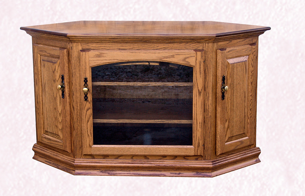 The Traditional Interchange TV Stand is shown in oak