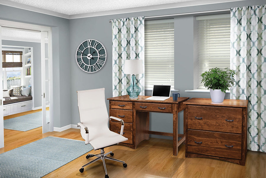 Wayne's Shaker Office Furniture Collection with single pedestal desk, and 2-drawer lateral file cabinet