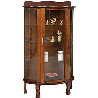 Plain Jane Curio | 3 adjustable glass shelves with plate groove, clear glass, wood back, no light, brass pull with lock, door hinged right | Cherry in Washington OCS107 | 34in W x 16in D x 76in H | The Amish Home | Amish Furniture at the Pittsburgh Mills