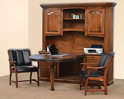 Fifth Avenue His & Hers Desk|Rustic Cherry in Michaels OCS114|108in W x in D x 80in H|The Amish Home|Amish Furniture at the Pittsburgh Mills