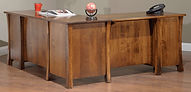 Woodbury L-Desk shown from back | Brown Maple in Asbury OCS117 | 75in W x 71 3/4in D x 30 3/4in H | The Amish Home | Amish Furniture at the Pittsburgh Mills