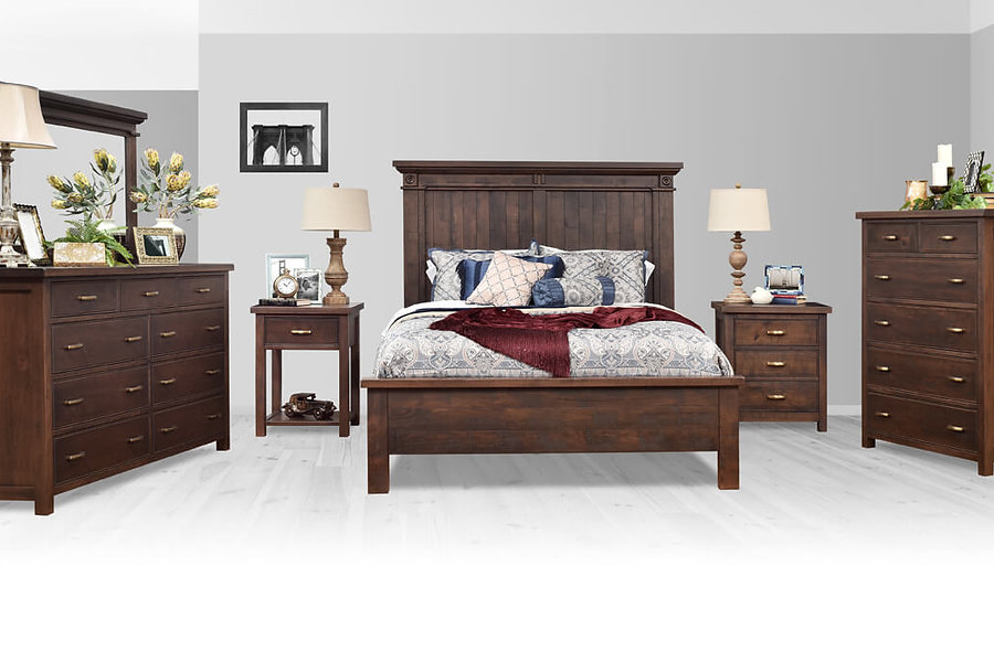 Timbermill Bedroom Furniture Collection|Rugged bedroom furniture collection with 1 1/2 inch solid wood tops with softened front edges, square corner posts, inset flat panel sides, and flush inset drawers with beaded trim. Dresser with nine drawers, one drawer nightstand with open shelf, bed with shiplap panels, rosettes, and statement crown molding, three drawer nightstand, and six drawer chest. Rustic cherry, kona finish, antique brushed satin brass hardware.|Solid Rustic Cherry in Kona FC-3030|The Amish Home|Amish Furniture at the Pittsburgh Mills